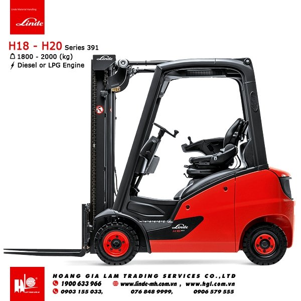Xe nâng diesel forklift Linde H18 - H20 (Series 391)