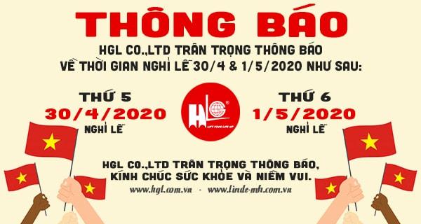 HGL Co.,Ltd thông báo nghỉ lễ 30/4 và Quốc tế lao động 1/5/2020